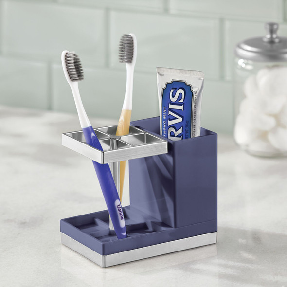 Plastic Bathroom Toothbrush and Toothpaste Stand Holder, Navy Blue/Chrome