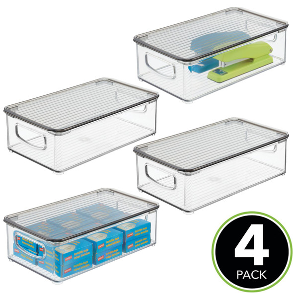 Plastic Office Stackable Storage Box with Handles, Lid, Pack of 4