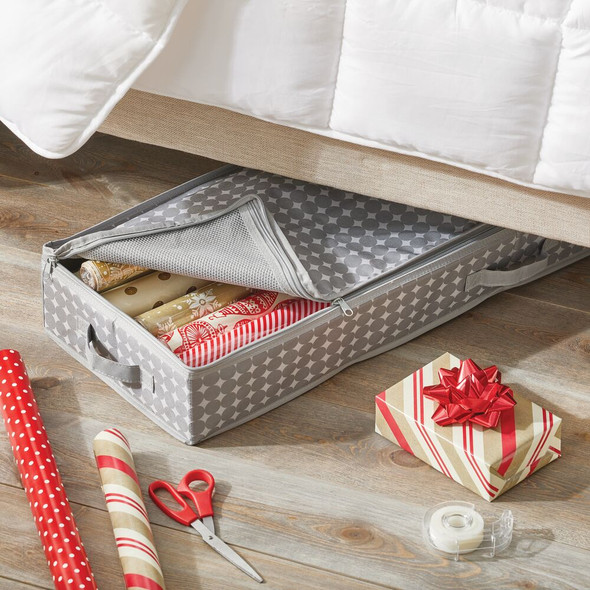 Soft Fabric Closet Gift Wrap Underbed Organizer, Gray