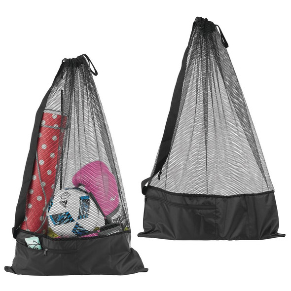 Fabric Mesh Equipment Bag with Strap and Front Pouch