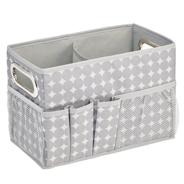 Soft Fabric Closet Gift Wrap Storage Box with Handles and Pockets, Gray