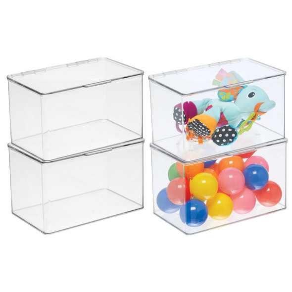 Plastic Kids Stackable Toy Storage Organizer Box with Lid, Pack of 4