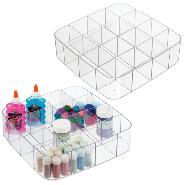 Stackable Plastic Drawer Organizer Storage Bin Tray, Pack of 2