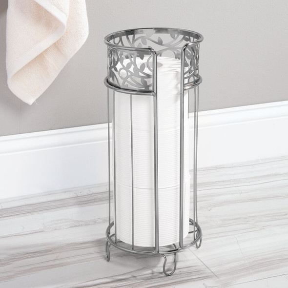 Metal Decorative Bathroom Free Standing Toilet Paper Holder Stand, Chrome