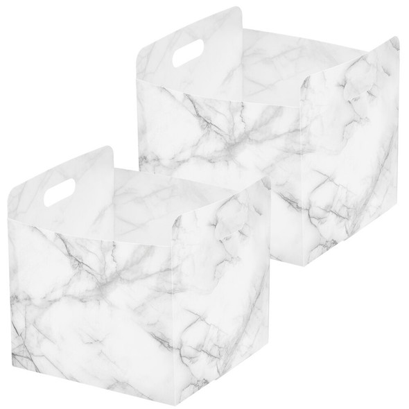 Plastic Closet Storage Organizer with Handles for Cube Shelving, Pack of 2
