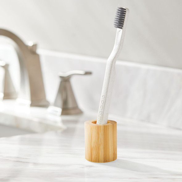 Decorative Modern Round Toothbrush Holder in Bamboo - Pack of 2