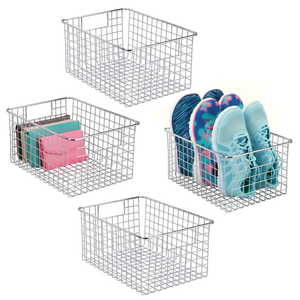 "Wire Closet Storage Bin with Handles - 12"" x 9"" x 6"""