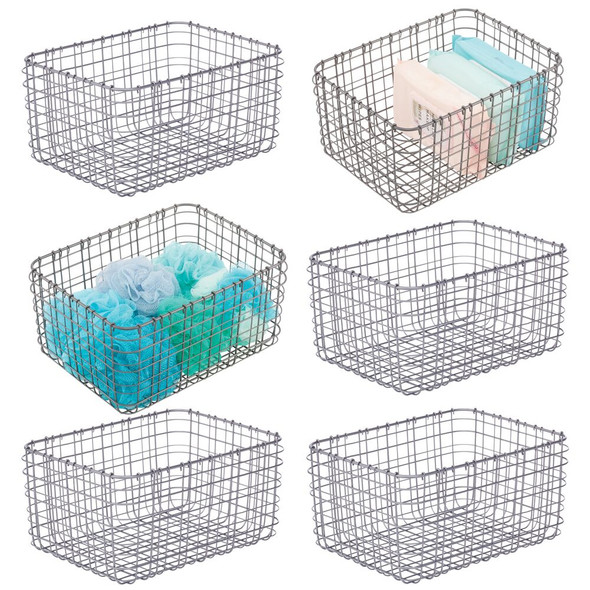 Wire Storage Baskets for Bath - Pack of 6