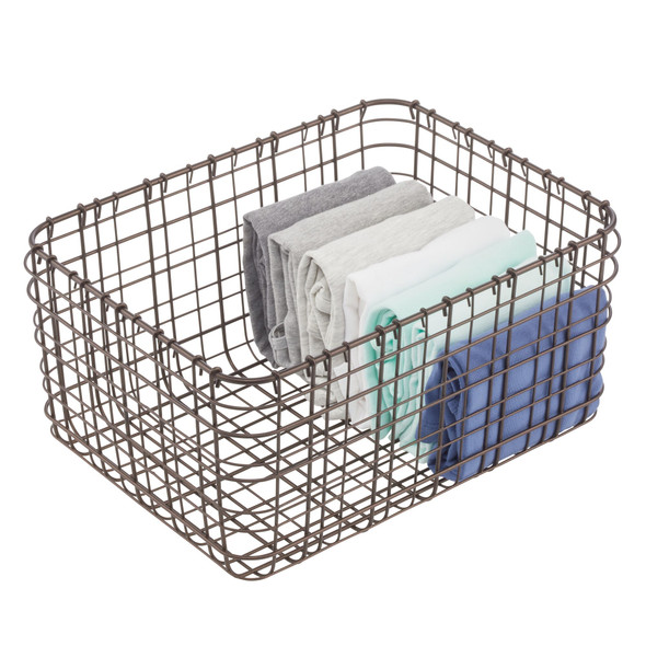 Wire Storage Baskets for Closet - Pack of 3