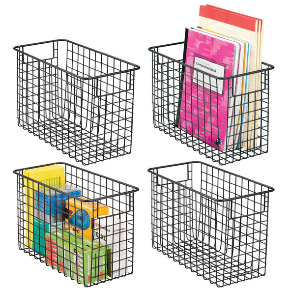 Metal Office Wire Storage Baskets - Pack of 4