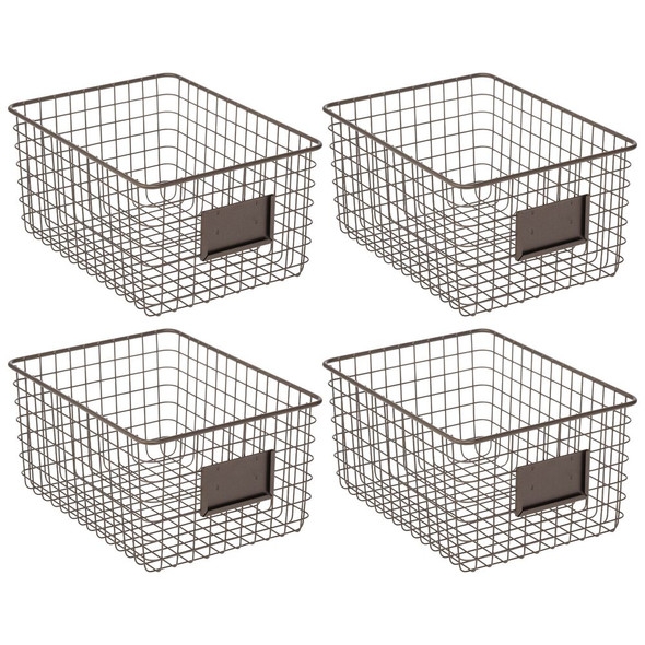 Wire Storage Baskets for Closet - Pack of 4