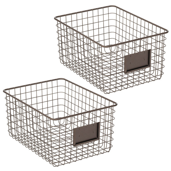 Wire Storage Baskets for Closet - Pack of 2