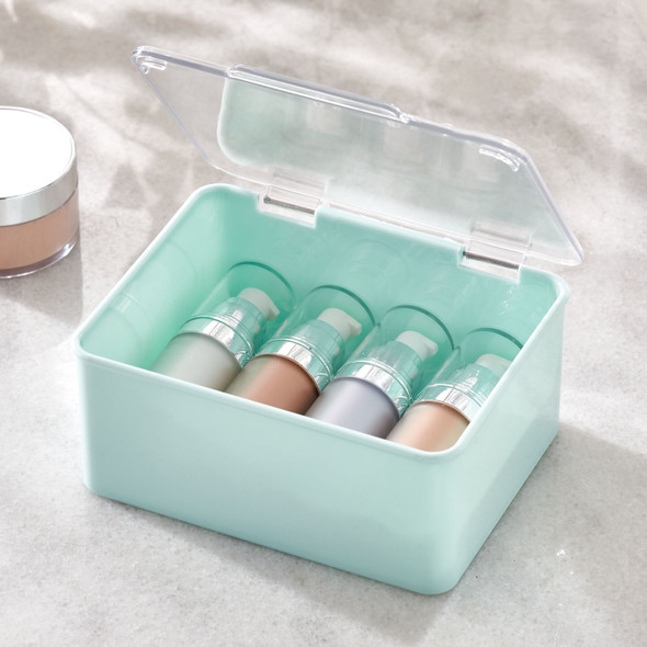 Plastic Cosmetic Storage Box with Clear Lid