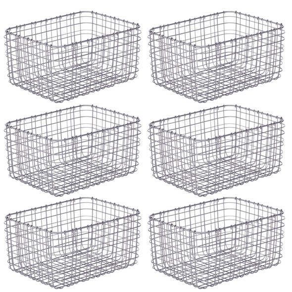Wire Storage Baskets for Closet - Pack of 6