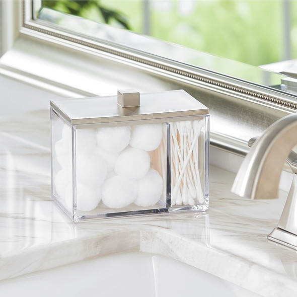 Square - Plastic Bathroom Vanity Storage Jar Canister