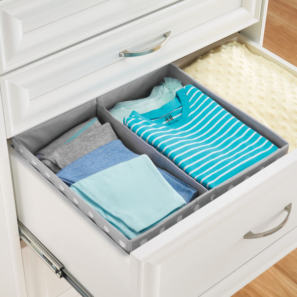 2 Compartment Fabric Polka Dot Drawer Organizers