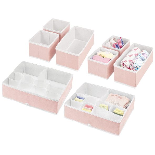 Multi-Compartment Fabric Drawer Organizers in Pink/White – Set of 8