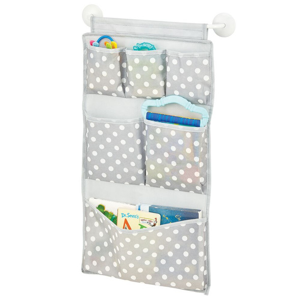 6 Compartment Fabric Adhesive Wall Mount Organizer - Gray/White