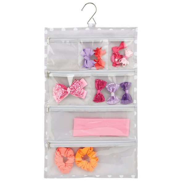 Polka Dot Jewelry Roll-up Organizer with Hook - Gray
