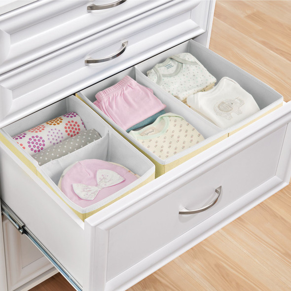Compartmental Fabric Drawer Organizers for Kids - Set of 2, Light Yellow/White
