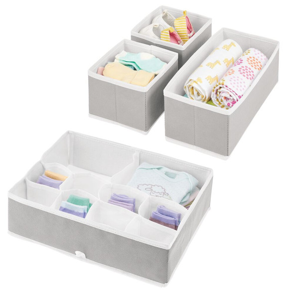 Multi-Compartment Fabric Drawer Organizers in Light Gray/White – Set of 4