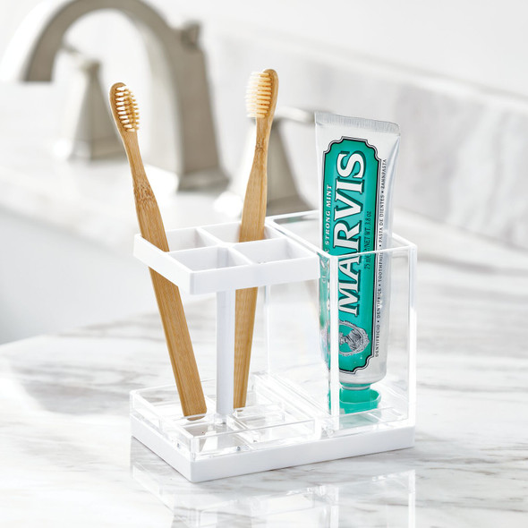 4 Compartment Toothbrush Holder - Clear/White