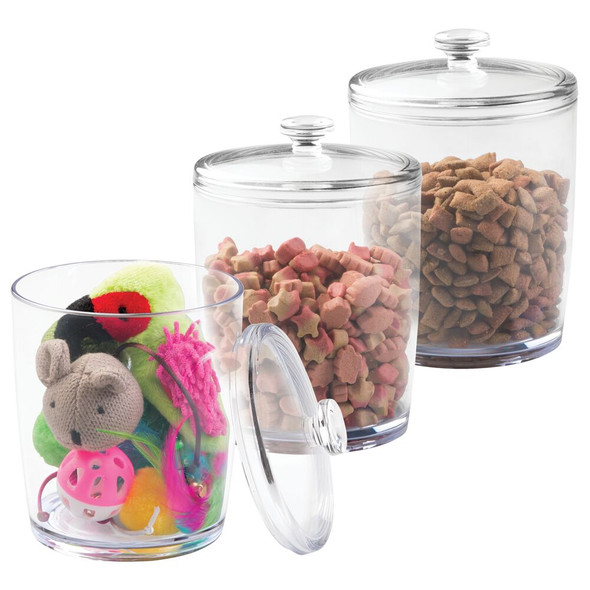 Round Plastic Cat Food, Treat Storage Canister - Pack of 3