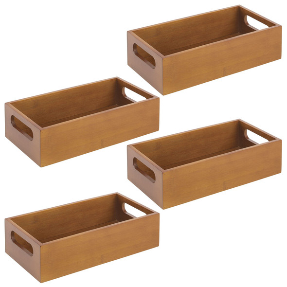 """Pack of 4 Bamboo Office Bins with Handle - 11.5"""" x 6"""" x 3"""""""