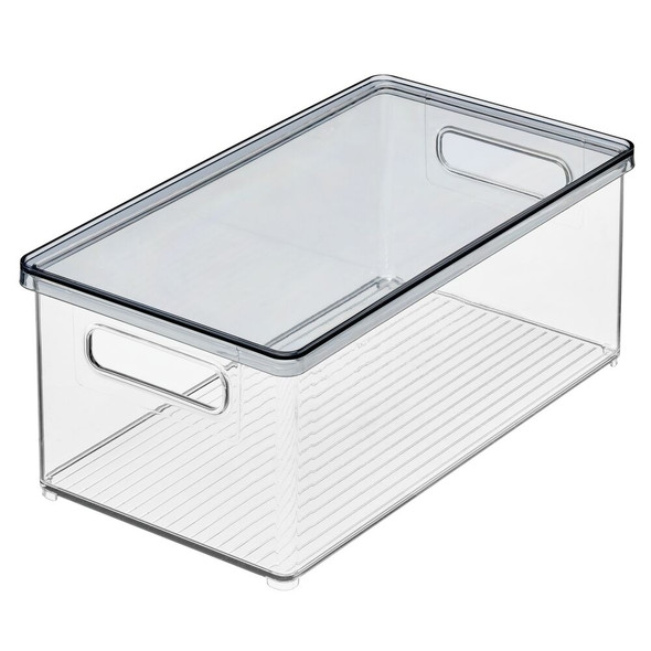 "Plastic Office Storage Bin with White Lid - 8"" x 14.5"" x 6"""