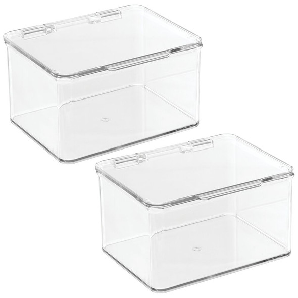Plastic Stackable Bath Storage Bin with Hinged Lid