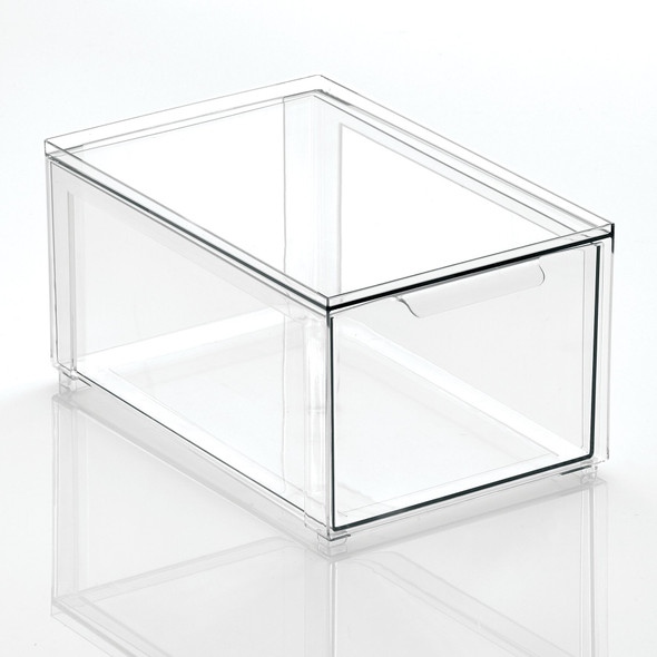 Plastic Stackable Bath Storage Bin with Pull out Drawer