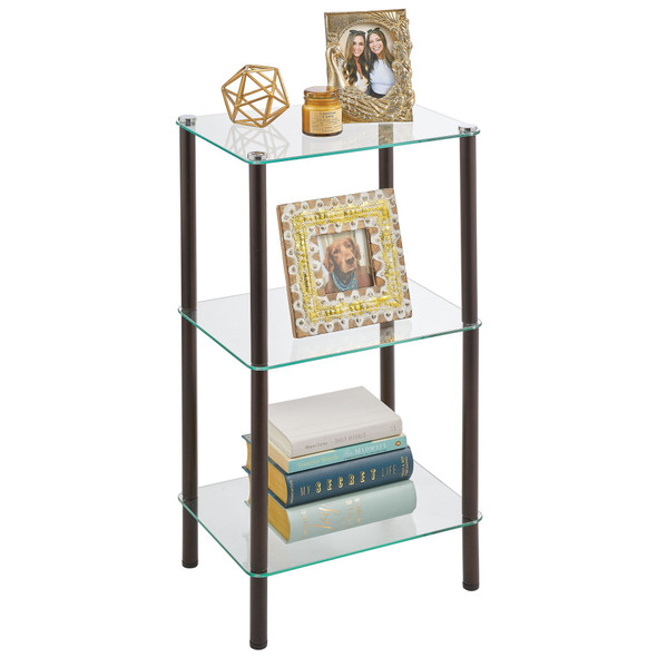 3 Tier Glass + Metal Storage Shelf - Set of 2
