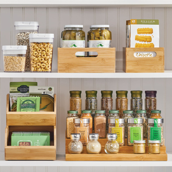 Bamboo Pantry Storage Bin with Handles
