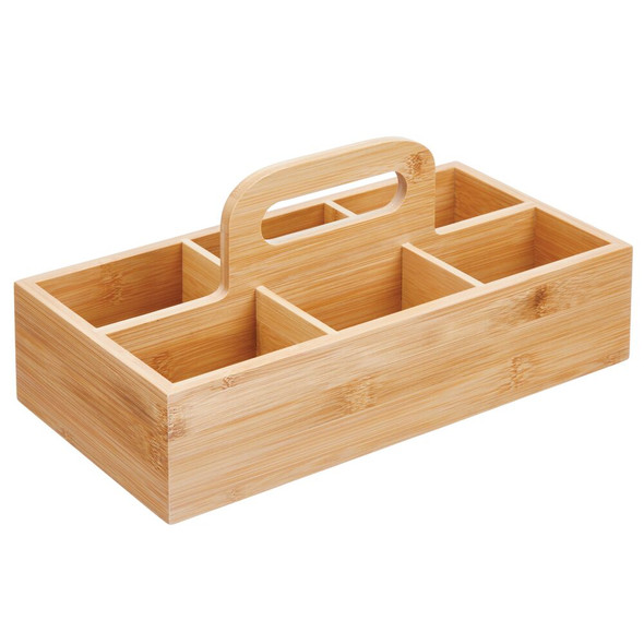 6 Compartment Bamboo Tote with Handle
