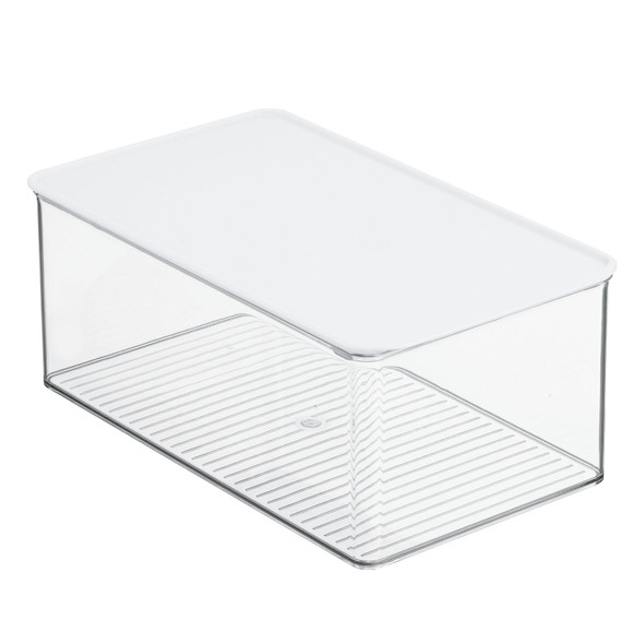 Clear Plastic Pantry Storage Box with White Lid