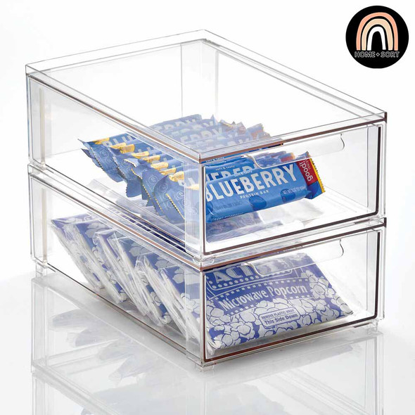 Plastic Stackable Pantry Storage Bin with Pull Out Drawer