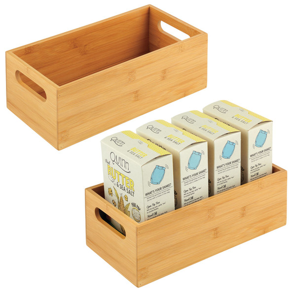 Bamboo Pantry Storage Bin with Handles - Pack of 2