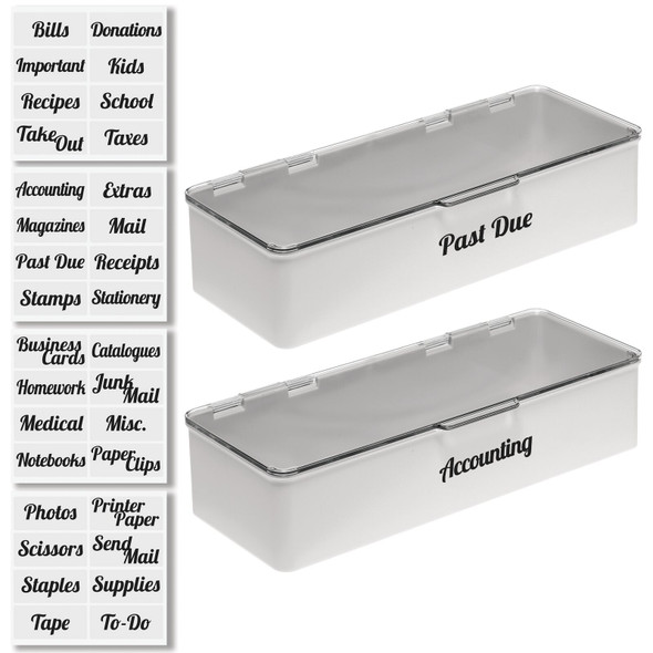 Office Bins with Labels - Pack of 2