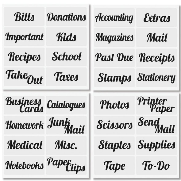 Office Bins with Labels - Pack of  4