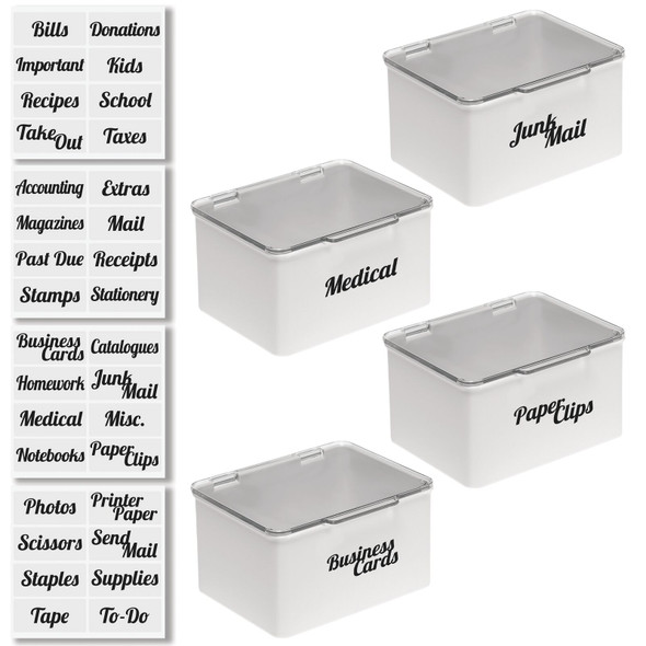 Plastic Stackable Office Bins with Labels - Pack of  4
