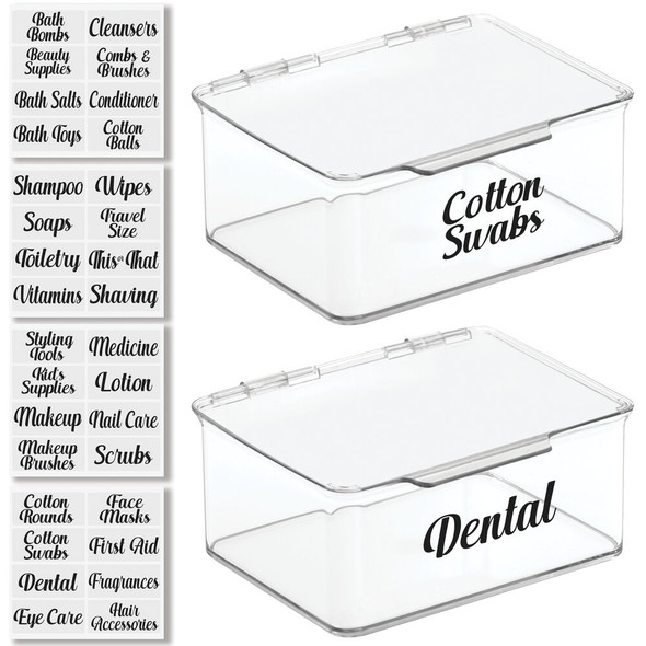 Bath Storage Bins with Labels - Pack of 2