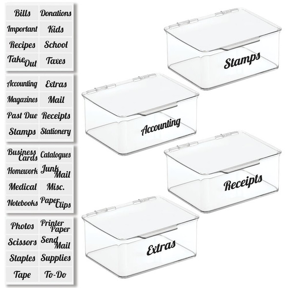 Plastic Office Bins with Labels - 6.5 x 5.6 x 5, Pack of 4