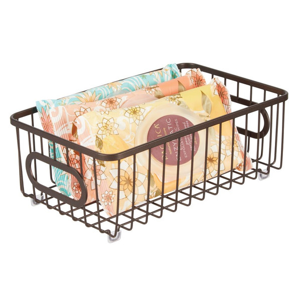 Metal Wire Bath Baskets with Handles - Pack of 6