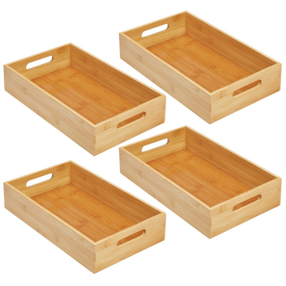 """Pack of 4 Bamboo Office Bins with Handle - 14.5"""" x 8.6"""" x 3"""""""