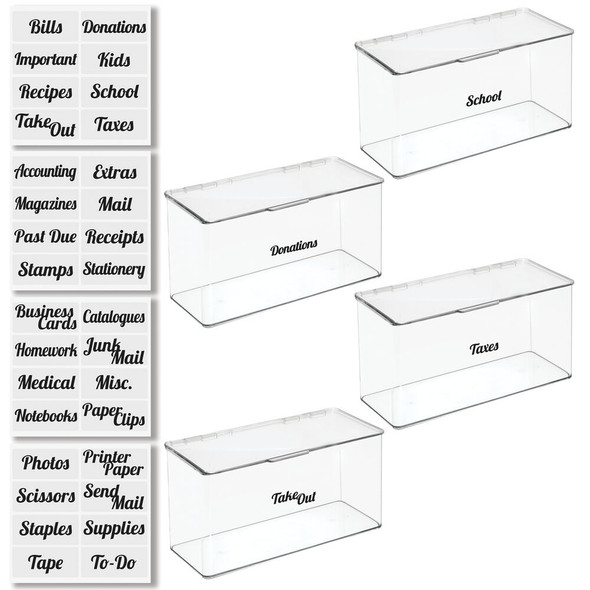Plastic Office Organizer Bins with Labels - Pack of 4