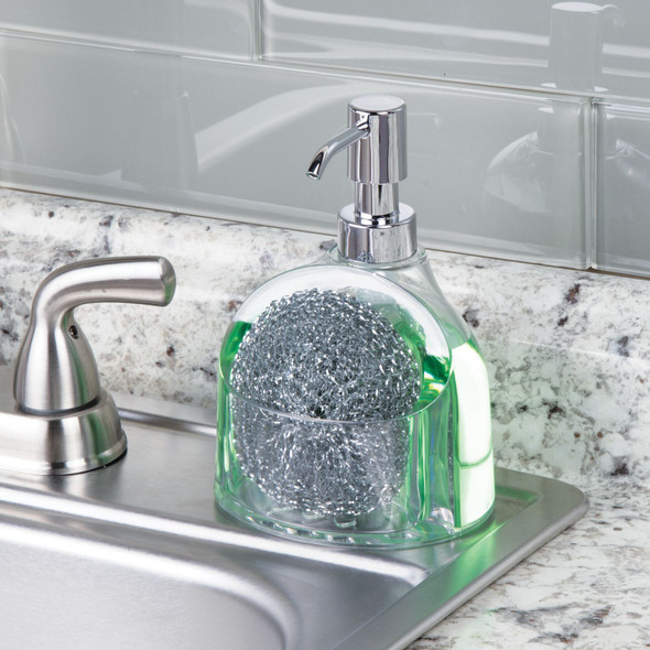 Plastic Kitchen Counter Soap Pump with Front Sponge Caddy