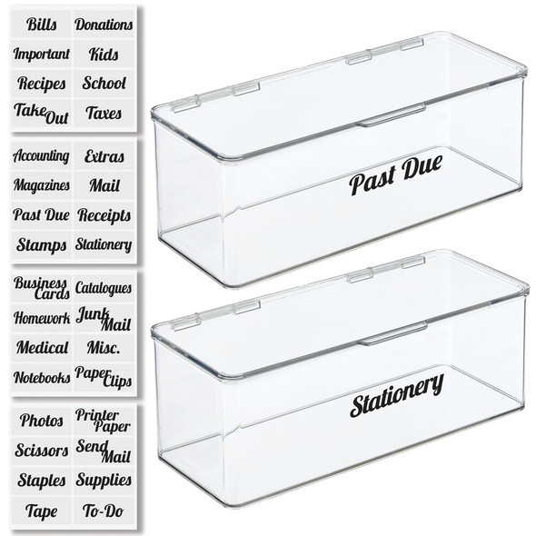 Office Organizer Bins with Labels - Pack of 2
