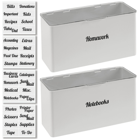 Stacking Office Organizer Bins with Labels - Pack of 2