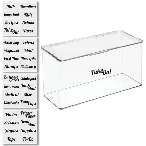 Plastic Office Organizers Bin with Lid and Labels