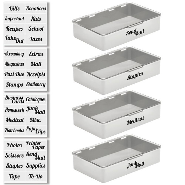 Wide Plastic Office Bins with Hinged Lid and Labels - Pack of 4